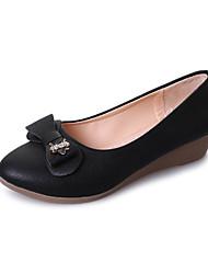 preiswerte -Damen Schuhe PU Frühling Sommer Pumps Komfort Sandalen Blockabsatz Offene Spitze Schleife für Party & Festivität Kleid Weiß Schwarz