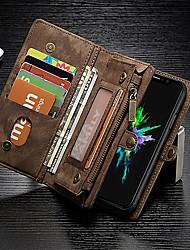 Недорогие -Кейс для Назначение Apple iPhone X / iPhone 8 Кошелек / Бумажник для карт / Защита от удара Чехол Однотонный Твердый Настоящая кожа для iPhone X / iPhone 8 Pluss / iPhone 8