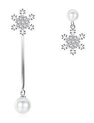 abordables -Mujer Perla No coincidente Pendientes colgantes - Perla Artificial Copo de Nieve Elegante Plata Para Diario / Ceremonia
