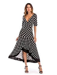 cheap -Women's Slim Sheath Swing Trumpet/Mermaid Dress - Polka Dot, Backless High Waist Maxi V Neck Off Shoulder
