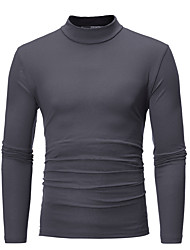 cheap -Men's Sports Street chic Plus Size Cotton Slim T-shirt - Solid Colored Stand