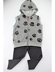 cheap -Girls' Daily Animal Print Color Block Clothing Set, Cotton Spandex Spring Fall Sleeveless Simple Casual Gray
