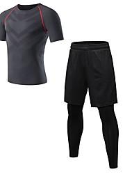 baratos -Homens activewear Set - Azul, Vermelho / Branco, Cinzento Esportes Sólido Leggings / Conjuntos de Roupas Fitness Manga Curta / Pant Long Roupas Esportivas Respirabilidade Com Stretch