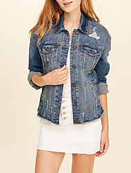 cheap -Women's Basic Denim Jacket-Solid Colored,Fur Trim