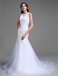 cheap -Mermaid / Trumpet Bateau Neck Sweep / Brush Train Lace Tulle Custom Wedding Dresses with Beading Lace by
