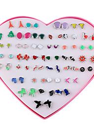 abordables -Femme 36 paires Boucles d'oreille goujon Mode Résine Forme Géométrique Bijoux Quotidien Bijoux de fantaisie