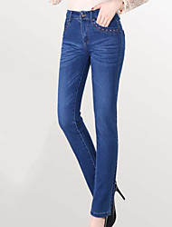 cheap -Women's Cotton Slim Jeans Pants - Solid Colored High Waist