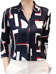 cheap -Women's Work Street chic Blouse - Color Block V Neck