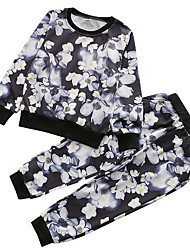 cheap -Boys' Daily Floral Clothing Set, Polyester Spring Long Sleeves Vintage Black