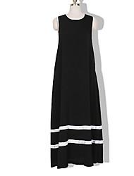 abordables -Femme Basique Ample Robe Rayé Maxi Noir