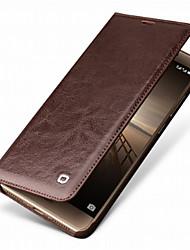 Недорогие -Кейс для Назначение Huawei Mate 9 Pro Mate 10 pro Бумажник для карт Защита от удара Чехол Сплошной цвет Твердый Настоящая кожа для Mate 9