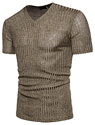 cheap -Men's Business Cotton T-shirt - Solid Colored, Sequins V Neck