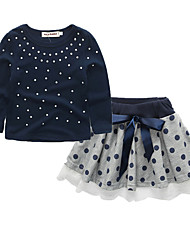 cheap -Girls' Daily Going out Solid Colored Polka Dot Clothing Set, Rabbit Fur Cotton Acrylic Spring Summer Fall Winter Long Sleeves Cute Active