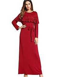 cheap -Women's Boho Loose Dress - Solid Color, Beaded Maxi