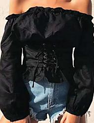 abordables -Tee-shirt Femme, Couleur Pleine Basique Chic de Rue Manche Gigot Epaules Dénudées Mince