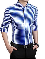cheap -Men's Work Slim Shirt - Striped Print Button Down Collar