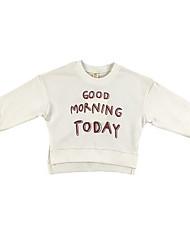 abordables -Pull à capuche & Sweatshirt Fille Quotidien Géométrique Coton Printemps Manches Longues simple Vert Blanc