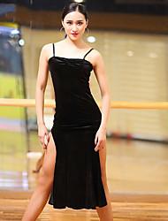 cheap -Latin Dance Dresses Women's Performance Velvet Chiffon Split Ruching Sleeveless Dress