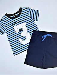 cheap -Boys' Daily Striped Print Color Block Clothing Set, Cotton Summer Casual Blue