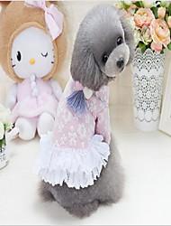 abordables -Chiens Robe Vêtements pour Chien Floral/Botanique Bleu Rose Coton / Polyester Costume Pour les animaux domestiques Fleur Robes et Jupes