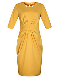 cheap -Women's Basic Sophisticated Sheath Dress - Solid Colored