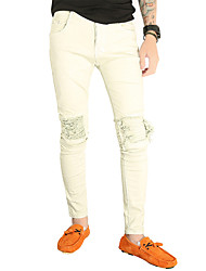 cheap -Men's Cotton Linen Jeans Pants - Solid Colored