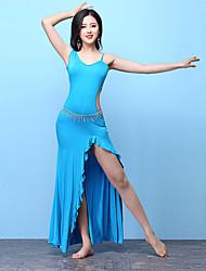 baratos -Dança do Ventre Roupa Mulheres Treino Modal Franzido / Com Fenda Sem Manga Alto Vestido / Calções