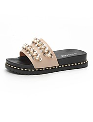cheap -Women's Shoes PU Summer Comfort Slippers & Flip-Flops Creepers Open Toe Rhinestone for Casual White Black Pink