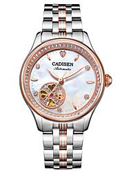 Недорогие -CADISEN Жен. Повседневные часы / Модные часы Японский Защита от влаги / Повседневные часы Нержавеющая сталь Группа Мода / Элегантный стиль Белый / Розовое золото / С автоподзаводом