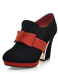 abordables -Femme Chaussures Similicuir Printemps Escarpin Basique Chaussures à Talons Talon Bottier Bout rond Noeud Orange / Beige / Marron