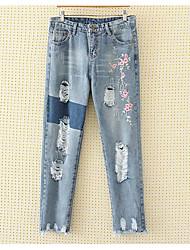 baratos -Mulheres Algodão Jeans Calças - Floral Buraco Bordado