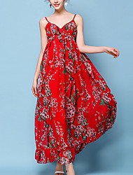 cheap -Women's Holiday Boho Loose Swing Dress - Floral Red, Print High Waist Maxi Strap