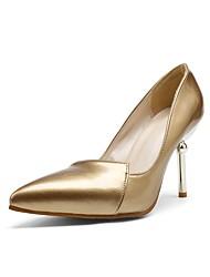 abordables -Femme Chaussures Similicuir Printemps Eté Confort Chaussures à Talons Talon Aiguille Bout pointu pour Décontracté De plein air Or Argent