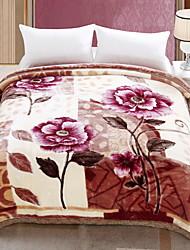 Недорогие -Коралловый флис, Активный краситель Цветочный принт Хлопок / полиэфир / Полиэстер одеяла