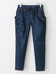cheap -Women's Simple Jeans Pants - Solid Colored
