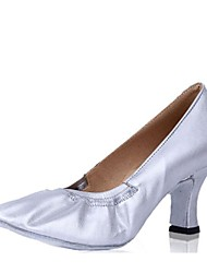 Недорогие -Жен. Обувь для модерна Свиная кожа На каблуках На толстом каблуке Персонализируемая Танцевальная обувь Золотой / Серебряный