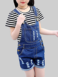 cheap -Girls' Daily Solid Jeans, Rayon Summer Short Sleeves Casual Blue