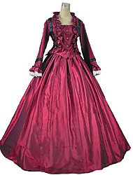 cheap -Victorian Rococo Costume Outfits Red+Black Vintage Cosplay Flocking Reasonable Long Sleeves Puff/Balloon