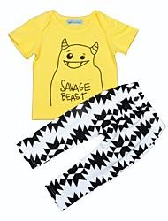 billige -Baby Unisex Aktiv Ferie Trykt mønster Trykt mønster Kortærmet Bomuld Tøjsæt