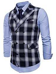 cheap -Men's Active Plus Size Slim Vest-Plaid Peaked Lapel