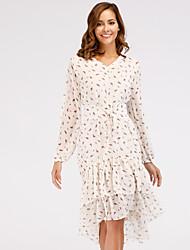 cheap -Women's Cute Chiffon Dress - Floral, Ruffle Print