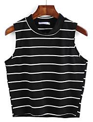 preiswerte -Damen Retro T-shirt - Gestreift Rundhalsausschnitt