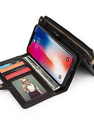 Недорогие -Кейс для Назначение Apple iPhone X Кошелек / Бумажник для карт / Защита от удара Чехол Сплошной цвет Твердый Кожа PU для iPhone X