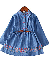 cheap -Girl's Daily Holiday Solid Dress, Cotton Polyester Spring Long Sleeves Simple Casual Blue