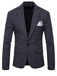 abordables -Blazer Grandes Tailles Homme - Tartan Actif Revers Cranté Mince