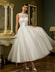 cheap -Product Sample Princess Illusion Neck Ankle Length Lace Over Tulle Made-To-Measure Wedding Dresses with Appliques / Buttons / Sashes /