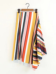 cheap -Women's Casual Plus Size Maxi Swing Skirts - Striped Color Block, Ruffle