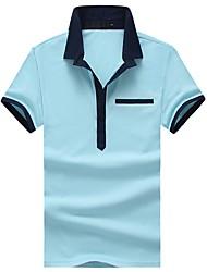 cheap -Men's Cotton Slim Polo - Solid Colored Geometric Color Block Patchwork Shirt Collar