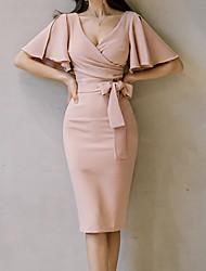 Недорогие -Жен. Рукав флаттер Облегающий силуэт Платье - Однотонный, Рюши Завышенная Средней длины