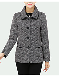 cheap -Women's Rabbit Fur Blazer - Solid Colored Yarn Dyed Shirt Collar